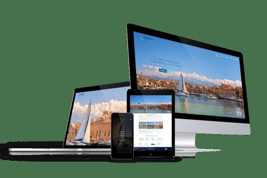 ennovate digital agency - notos sailing website devices screenshot 01